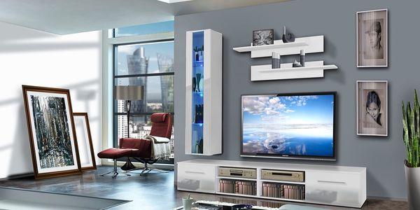 Obývací stěna INVENTO E1, bílá matná/bílý lesk