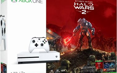 XBOX ONE S, 1TB, bílá + Halo Wars 2 + Halo Wars 1 - 234-00137 + Tričko Halo Wars 2 + Hra Gears of War 4