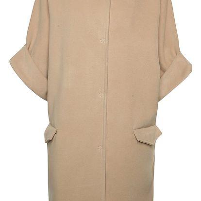 Béžový volný kabát s krátkými rukávy Alchymi Ava