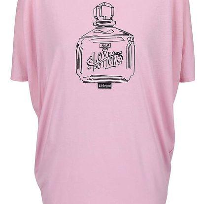 Růžové volné tričko s potiskem Alchymi Potion