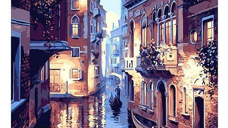 Bezrámový nedokončený obraz 40 x 50 cm - Benátská ulice