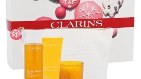 Clarins Tonic Bath Shower Concentrate dárková kazeta pro ženy sprchový gel Tonic Bath Shower Concentrate 200 ml + tělová péče Tonic Body Balm 200 ml + vonná svíčka Tonic Oil Scented Candle 50 g + kosmetická taška