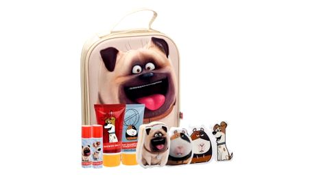 Universal The Secret Life Of Pets dárková kazeta sprchový gel 50 ml + šampon 2 v 1 50 ml + balzám na rty 2 x 4,5 g + šumivé tablety do koupele 2 x 20 g + kouzelný ručník 2 ks + kosmetická taška