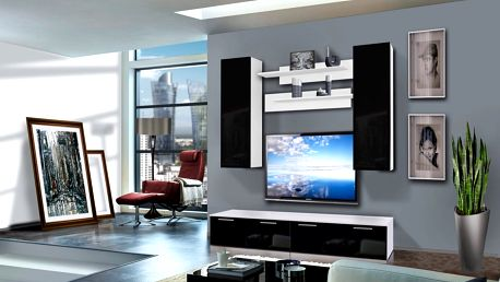 Obývací stěna LEDGE A2, bílá matná/černý lesk