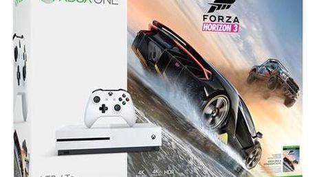 Herní konzole Microsoft Xbox One S 1 TB + Forza Horizon 3 (234-00114) bílá + Doprava zdarma