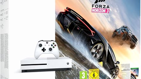 XBOX ONE S, 1TB, bílá + Forza Horizon 3 - 234-00114 + Hra Gears of War 4