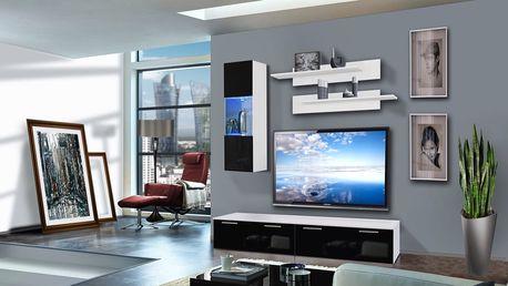 Obývací stěna LEDGE C1, bílá matná/černý lesk