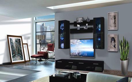 Obývací stěna LEDGE B2, černá matná/černý lesk