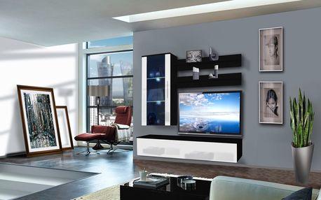 Obývací stěna STICK, černá matná/bílý lesk