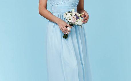 Světle modré šifónové šaty Flower Dream