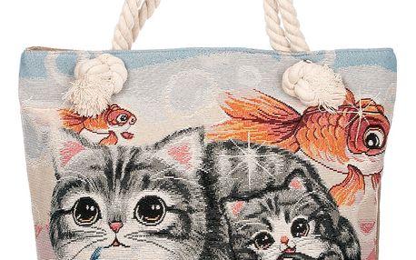 Fashion Icon Dámská taška Cat with Fish kočky roztomilé