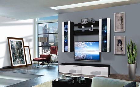 Obývací stěna LEDGE B2, černá matná/bílý lesk
