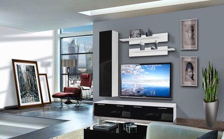 Obývací stěna LEDGE D1, bílá matná/černý lesk