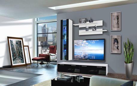 Obývací stěna LEDGE E1, bílá matná/černý lesk