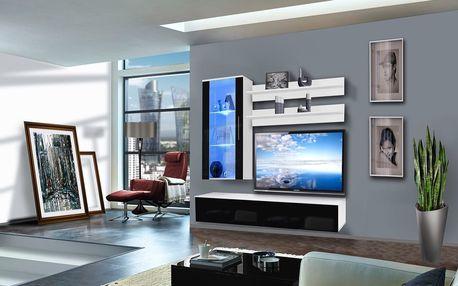 Obývací stěna STICK, bílá matná/černý lesk