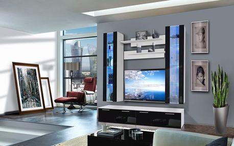 Obývací stěna LEDGE E2, bílá matná/černý lesk