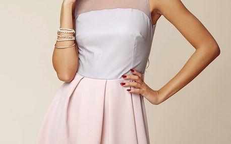 Šedo-růžové šaty ASU0006