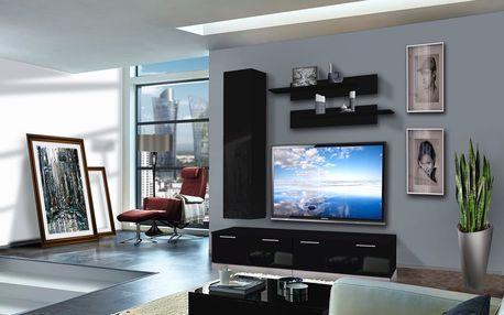 Obývací stěna LEDGE D1, černá matná/černý lesk