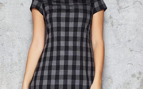 Šedo-černé kárované šaty M034