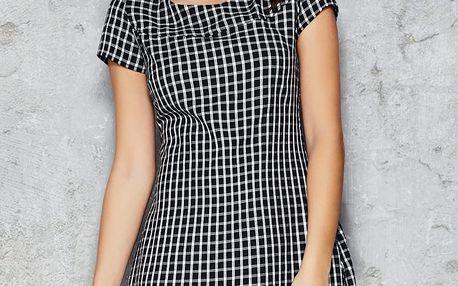 Černo-bílé kárované šaty M034