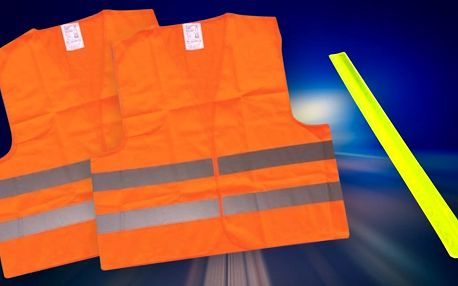 Dvě reflexní vesty a pásek pro lepší viditelnost