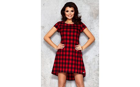 Červeno-černé kárované šaty M034