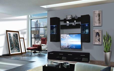 Obývací stěna LEDGE C2, černá matná/černý lesk