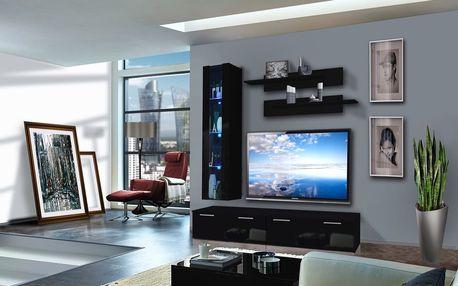 Obývací stěna LEDGE E1, černá matná/černý lesk