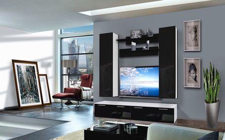 Obývací stěna LEDGE D2, bílá matná/černý lesk