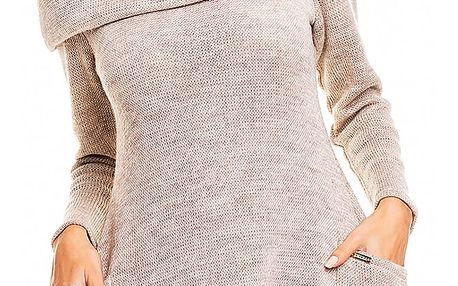Béžové svetrové šaty A134