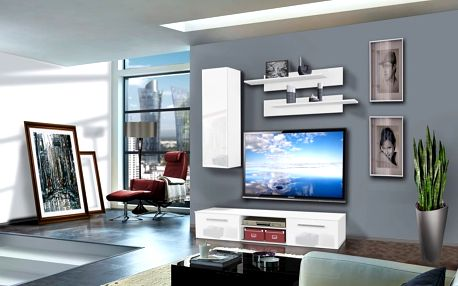 Obývací stěna COVER A1, bílá matná/bílý lesk