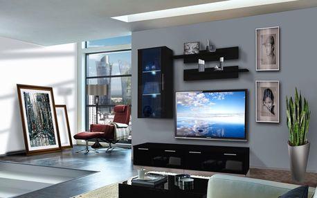 Obývací stěna LEDGE G1, černá matná/černý lesk