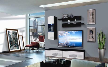 Obývací stěna LEDGE C1, černá matná/bílý lesk