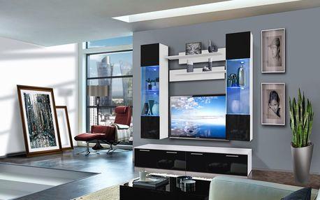 Obývací stěna LEDGE F2, bílá matná/černý lesk