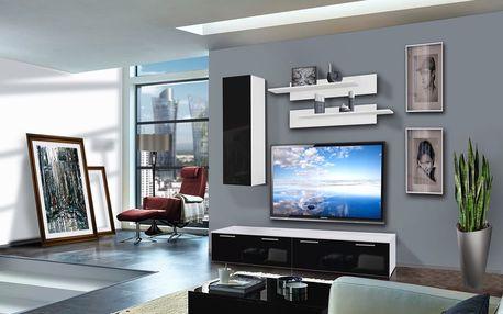 Obývací stěna LEDGE A1, bílá matná/černý lesk