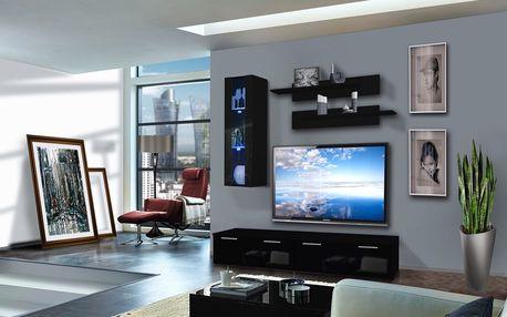 Obývací stěna LEDGE B1, černá matná/černý lesk