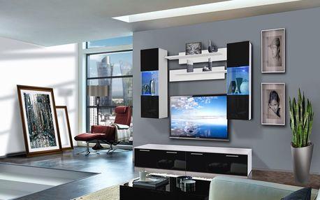 Obývací stěna LEDGE C2, bílá matná/černý lesk
