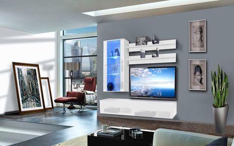 Obývací stěna STICK, bílá matná/bílý lesk