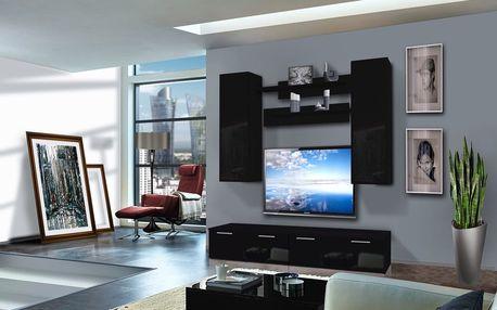 Obývací stěna LEDGE A2, černá matná/černý lesk