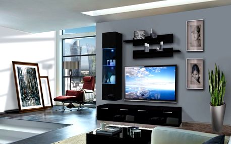 Obývací stěna LEDGE F1, černá matná/černý lesk