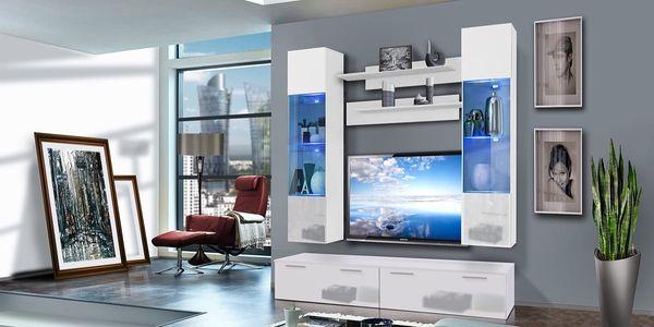 Obývací stěna LEDGE F2, bílá matná/bílý lesk