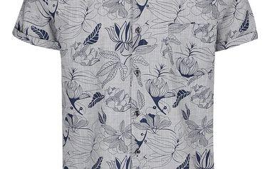 Modro-šedá vzorovaná košile s krátkým rukávem Burton Menswear London
