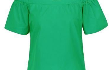 Zelená halenka s odhalenými rameny ONLY Pop-Popeline