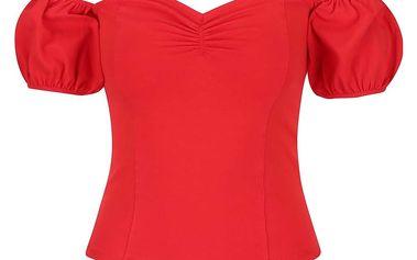 Červený top s nařaseným rukávem Miss Selfridge