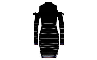 Černé svetrové šaty s průstřihy na ramenou Miss Selfridge