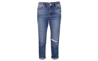 Modré zkrácené slim fit džíny s výšivkami Miss Selfridge