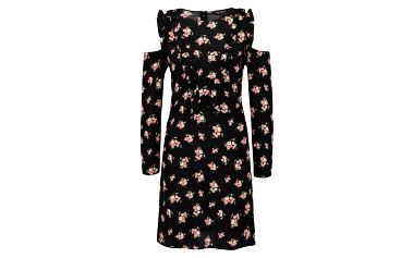 Černé květované šaty s průstřihy na ramenou Miss Selfridge