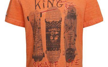 Oranžové klučičí triko s potiskem skate Bóboli