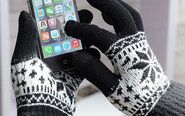 Dámské rukavice s vločkou na dotykový displej - černá - dodání do 2 dnů