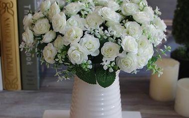 Přirozené umělé růže 15 ks